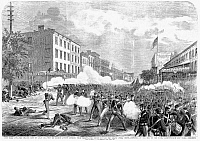 0089195 © Granger - Historical Picture ArchiveNEW YORK: ORANGE RIOT.   Troops disperse green (Catholic) Irish protesting the orange (Protestant) Irish procession on 8th Avenue in New York, 12 July 1871. Line engraving from a contemporary American newspaper.