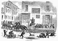 0089327 © Granger - Historical Picture ArchiveOMNIBUS SLEIGH, 1865.   An omnibus sleigh pulled by six horses on a wintry street in New York City. Wood engraving, English, 1865.