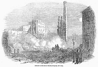 0091765 © Granger - Historical Picture ArchiveNEW YORK: FIRE, 1853.  Ruins of buildings in Franklin Square, Lower Manhattan, after the fire, 10 December 1853. Wood engraving from a contemporary English newspaper.