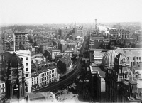 0092036 © Granger - Historical Picture ArchiveBROOKLYN: FULTON STREET.   Looking East along Fulton Street from above Borough Hall. Photograph, early 20th century.