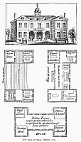 0092099 © Granger - Historical Picture ArchiveNEW YORK: CITY HALL, 1700.   View and plan of the old City Hall of New York, c1700, located on Wall Street and containing courtrooms, a firehouse, and a debtor's prison. Wood engraving, 19th century.