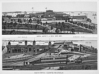 0092166 © Granger - Historical Picture ArchiveNEW YORK: CASTLE GARDEN.   View of Castle Garden at the Battery, Manhattan (top), and South Ferry elevated railroad station, Brooklyn. Lithograph, c1900.