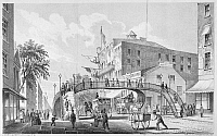 0092192 © Granger - Historical Picture ArchiveNEW YORK: BROADWAY, 1852.   Plan for a pedestrian bridge over Broadway to ease traffic problems, presented in 1852 by John T. Dodge, Street Commissioner. Lithograph, 1856.