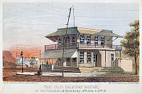 0092200 © Granger - Historical Picture ArchiveNEW YORK: HALFWAY HOUSE.   The old halfway house at the junction of Broadway, Eighth Avenue, and 59th St. Lithograph, 1864.