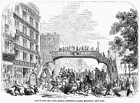 0092211 © Granger - Historical Picture ArchiveNEW YORK: BROADWAY, 1852.   Genin's new and novel pedestrian bridge, extending over Broadway, New York. Wood engraving, 1852.