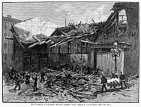 0092380 © Granger - Historical Picture ArchiveMADISON SQUARE GARDEN.   The tragedy at Madison Square Garden, New York, where the collapse of the front wall lead to several fatalities, 21 April 1880. Wood engraving from a contemporary American newspaper.