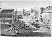 0092445 © Granger - Historical Picture ArchiveNEW YORK: MARKET SLIP.   View of Market Slip, from the corner of Cherry Street. Lithograph, American, 1860.