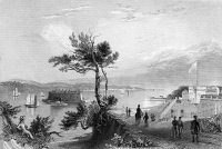 0092455 © Granger - Historical Picture ArchiveSTATEN ISLAND NARROWS.   View of the Narrows at the entrance to New York Harbor, from Fort Hamilton, Brooklyn, looking toward Staten Island. Steel engraving, 19th century.