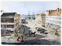 0095953 © Granger - Historical Picture ArchiveNEW YORK: MARKET SLIP.   View of Market Slip, New York City, from the corner of Cherry Street, looking towards the East River. Lithograph, American, 1860.