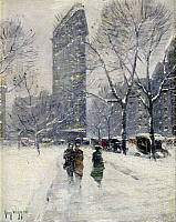 0103190 © Granger - Historical Picture ArchiveNEW YORK: FLATIRON, 1919.   'Madison Square (Flatiron Building).' Oil painting by Guy Wiggins, 1919.