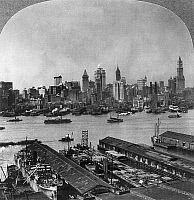 0115360 © Granger - Historical Picture ArchiveNEW YORK: EAST RIVER, c1920.   East River ferry slips and the Brooklyn waterfront, photographed c1920.