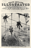 0116849 © Granger - Historical Picture ArchiveBROOKLYN BRIDGE, 1883.   Construction workers lashing the stays on the Brooklyn Bridge. Front page of Frank Leslie's Illustrated Newspaper, 28 April 1883.