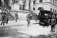 0120620 © Granger - Historical Picture ArchiveWALL STREET BOMBING, 1920.   Guards at the subtreasury on Wall Street, after the terrorist bombing on Wall Street, 16 September 1920.