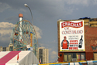 0121325 © Granger - Historical Picture ArchiveCONEY ISLAND: CHACHAS.   Sign for Chachas bar at Coney Island, with the Wonder Wheel and observation tower to the left. Photograph, 2009. Full credit: Maggie Downing / Granger, NYC -- All Rights Reserved.