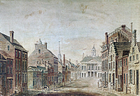 0124480 © Granger - Historical Picture ArchiveNEW YORK: FEDERAL HALL.   View of Broad Street and Federal Hall. Watercolor, 1797.