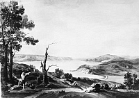 0124497 © Granger - Historical Picture ArchiveNEW YORK: FORT WASHINGTON.   Looking north toward Fort Washington, the Hudson River and the Palisades in New Jersey. Watercolor by Achibald Robertson, October 1781.