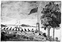 0124498 © Granger - Historical Picture ArchiveNEW YORK: BATTERY, 1793.   The Battery at the southern tip of Manhattan. At anchor in the harbor is the French frigate 'Ambuscade' which brought Citizen Genet to America. Line engraving, 1793.