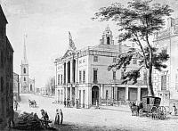 0124500 © Granger - Historical Picture ArchiveNEW YORK: FEDERAL HALL.   Old City Hall (Federal Hall) where Congress held its first sessions. Drawing by Archibald Robertson, 1798.