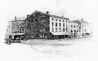 0124501 © Granger - Historical Picture ArchiveNEW YORK: FRAUNCES TAVERN.   Fraunces Tavern, at 101 Broad Street, corner of Pearl Street, where General Geoge Washington bade farewell to his officers on 4 December 1783. Line engraving, 1897.