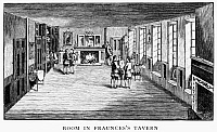 0124503 © Granger - Historical Picture ArchiveNEW YORK: FRAUNCES TAVERN.   A room in Fraunces Tavern at 101 Broad Street, corner of Pearl Street, where General George Washingon bade farewell to his officers on 4 December 1783. Wood engraving, 1888.