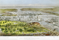 0124566 © Granger - Historical Picture ArchiveNEW YORK HARBOR, 1872.   'The Port of New York.' Lithograph by Nathaniel Currier and James Ives, 1872.