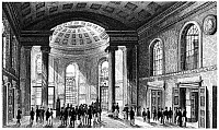 0124773 © Granger - Historical Picture ArchiveNEW YORK: EXCHANGE, 1831.   Interior view of the Merchant's Exchange on Wall Street in New York City. The building was destroyed in the great fire of 1835. Line engraving, American, 1831, from Theodore Sedgwick Fay's 'Views in New York and Its Environs.'