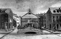 0124778 © Granger - Historical Picture ArchiveNEW YORK: MARKET, 1808.   The Old Fly (or Vly) Market at Maiden Lane and Pearl Street. Painting by William P. Chappel, 1808.