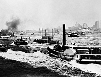 0124782 © Granger - Historical Picture ArchiveNEW YORK HARBOR, 1898.   Steamboats on the North (Hudson) River in New York Harbor, 1898.