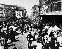 0124793 © Granger - Historical Picture ArchiveNEW YORK: LOWER EAST SIDE.   Street vendors on Hester Street at the corner of Norfolk Street on Manhattan' Lower East Side, c1885.