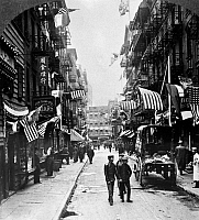 0124797 © Granger - Historical Picture ArchiveNEW YORK : CHINATOWN, 1909.   Doyers Street in New York's Chinatown in lower Manhattan. Stereograph, 1909.