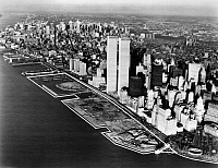 0124804 © Granger - Historical Picture ArchiveNEW YORK: LANDFILL, 1980s.   Landfill in the Hudson River near the southern tip of Manhattan, where Battery Park City and the World Financial Center were built in the late 1980s.
