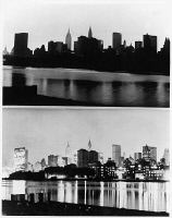 0124838 © Granger - Historical Picture ArchiveNEW YORK: BLACKOUT, 1965.   Midtown Manhattan skyline photographed from Queens during the Northeast Blackout that began at 5:27 p.m., 9 November 1965, and after power was resumed the following morning.