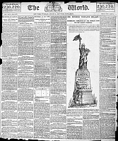 0125159 © Granger - Historical Picture ArchiveSTATUE OF LIBERTY, 1885.   Front page of Joseph Pulitzer's New York newspaper 'The World,' 11 August 1885, hailing the raising of $100,000 for the completion of the Liberty pedestal.