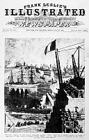 0125160 © Granger - Historical Picture ArchiveSTATUE OF LIBERTY, 1885.   The arrival from Paris, France, of the Statue of Liberty to Bedloe Island in New York Harbor. Wood engraving on the front page of 'Frank Leslie's Illustrated Newspaper,' 27 June 1885.