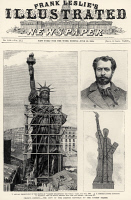 0125161 © Granger - Historical Picture ArchiveSTATUE OF LIBERTY, 1885.   Front page of 'Frank Leslie's Illustrated Newspaper,' 13 June 1885, hailing 'the gift of the French Republic to the United States.' Two engravings show the statue under construction in Paris, a third is a portrait of Frédéric-August Bartholdi, its creator.