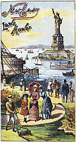 0125221 © Granger - Historical Picture ArchiveSTATUE OF LIBERTY: AD.   American trade card for the lawn mower New Easy, late 1880s, showing the Statue of Liberty, and Castle Garden in New York Harbor.