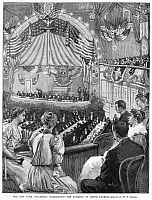 0126226 © Granger - Historical Picture ArchiveCOLUMBUS ANNIVERSARY, 1892.   The Columbian Banquet at the Lenox Lyceum in New York City, held in honor of the 400th anniversary of Christopher Columbus' voyage to America, 12 October 1892. Contemporary American wood engraving after a drawing by W.P. Snyder.