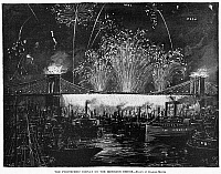 0126229 © Granger - Historical Picture ArchiveCOLUMBUS ANNIVERSARY, 1892.  Firework and pyrotechnic display at the Brooklyn Bridge in New York City during festivities held in honor of the 400th anniversary of Christopher Columbus' voyage to America, 12 October 1892. Contemprary illustration by Charles Mente.