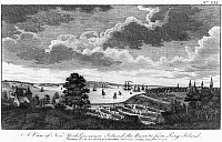 0128715 © Granger - Historical Picture ArchiveNEW YORK, 1776.   A view of Manhattan, Governors Island, and the East River from Long Island. Etching, November 1776.