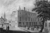 0130764 © Granger - Historical Picture ArchiveNEW YORK: FEDERAL HALL.   Old City Hall (Federal Hall) on Wall Street, New York City in 1789. Steel engraving, c1840.