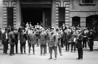 0131814 © Granger - Historical Picture ArchiveNEW YORK: WAITERS STRIKE.   Striking waiters gathered outside Sherry's restaurant, at Fifth Avenue and 44th Street in New York City, 31 May 1912.