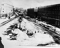 0132594 © Granger - Historical Picture ArchiveNEW YORK: BLIZZARD OF 1888.   Times Square cleaned up after the blizzard of 12-14 March 1888.