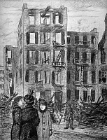 0167696 © Granger - Historical Picture ArchiveNEW YORK: TRIANGLE FACTORY.   Three women standing across the street from the burned out Triangle Shirtwaist Company, that has a sign 'Girls Wanted.' Drawing by Henry Glintenkamp, 1911.