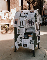 0169984 © Granger - Historical Picture ArchiveNEW YORK: SEPTEMBER 11TH.   A mailbox covered with missing notices, following the terrorist attack on the World Trade Center in New York City, 11 September 2001. Photograph by David Finn.