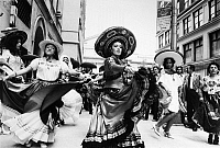 0170480 © Granger - Historical Picture ArchiveMEXICAN INDEPENDENCE DAY.   Mexican folk dancers performing in the street in New York City during the Mexican Independence Day celebration, 17 September 1974.