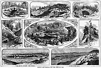 0175285 © Granger - Historical Picture ArchiveBROOKLYN: PROSPECT PARK.   Views of Propsect Park in Brooklyn, New York, and (lower left) a view of Lower Manhattan from Prospect Park. Wood engravings, American, 1868, after drawings by Harry Fenn.