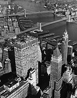 0186594 © Granger - Historical Picture ArchiveNEW YORK CITY, c1965.   Aerial view of the Financial District, the East River and the Brooklyn and Manhattan Bridges in New York City. Photograph, c1965.