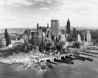 0186595 © Granger - Historical Picture ArchiveNEW YORK CITY, c1965.   Aerial view of Lower Manhattan, Battery Park and ferry terminals in New York City. Photograph, c1965.