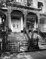 0186604 © Granger - Historical Picture ArchiveNYC: GRAMERCY PARK, c1965.   The front facade of #3 and #4 Gramercy Park in New York City, built in the 1840s. #4 was the home of James Harper, a publisher and former mayor of New York (1844-1845). Photograph, c1965.