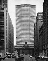 0186608 © Granger - Historical Picture ArchiveNEW YORK: PAN AM BUILDING.   The Pan Am Building (now the MetLife Building) and Grand Central Station in New York City. Photograph, c1962.